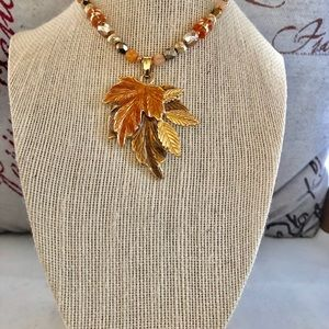 Vintage Kenneth Cole Fall Leaves Pendant Necklace